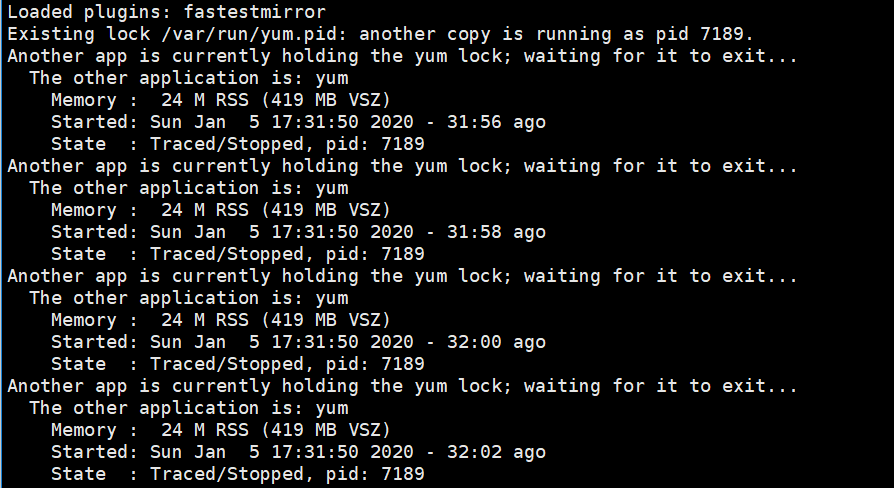 Existing lock /var/run/yum.pid: another copy is running as pid 报错解决办法